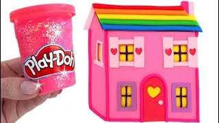 Learn Colors with Play Doh Making Colorful Baby Doll House Surprise Toys