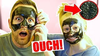 DO NOT TRY CHARCOAL FACE PEELS!! 😱 **dad screamed**