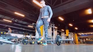 barbell between legs lunges / Desplantes con barra olimpica entre piernas .- Jahziel H. Diez