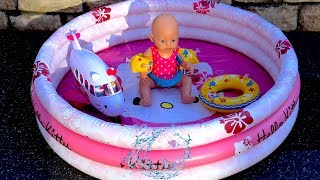 Baby Born Doll Hello Kitty Swimming Pool Airplane Crash Accident and Dolls Swimming Suit Bunk Bed