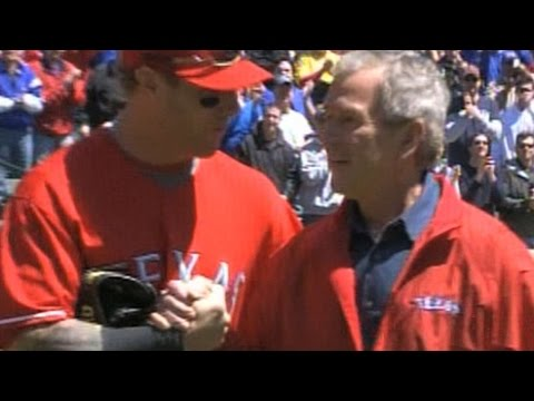 CLE@TEX: Bush throws out the first pitch in Texas