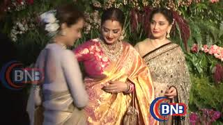 beauty queen rekha madhuri and amitabh family together virat reception