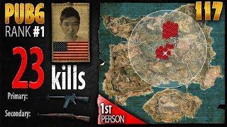 PUBG Rank 1 - Menthol_TV 23 kills DUO - 1st person PLAYERUNKNOWN'S BATTLEGROUNDS #117