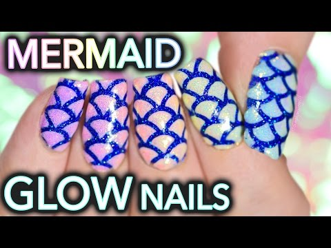 Mermaid glow nail art with shimmer effect