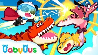 Super Panda Rescues Baby Dinosaur | Dinosaur Rescue Team | BabyBus Cartoon