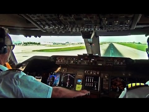 Boeing 747 Cockpit View Take Off from Miami Intl. MIA