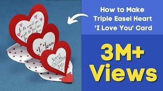 DIY Valentine Card - How to Make Triple Easel Heart 'I Love You' Card