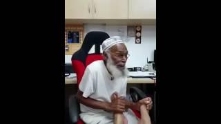 Funny old man sings