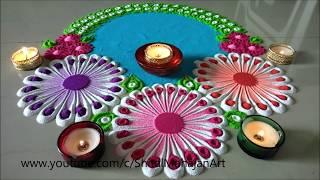 Very Easy and Beautiful Flower Rangoli Designs| Creative Rangoli by Shital Mahajan.