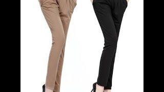 Ladies pant cutting with belt/side zip