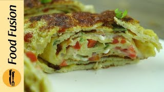 Omelette Roll with chicken and cheese Breakfast Recipe By Food Fusion