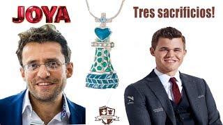 Joya de Aronian y Carlsen.Tres sacrificios de ajedrez