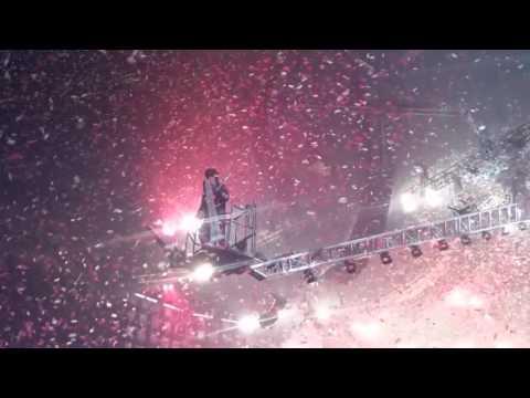 Motley Crue Nikki on crane in confetti