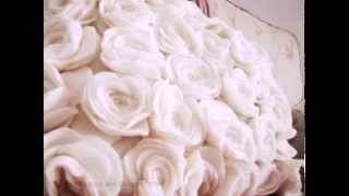 Декор подушки розами из ткани. Decor pillow fabric roses