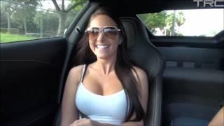 Brunette having Fun in Corvette Stingray