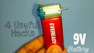 4 Useful things form 9V battery | DC motor | Life hacks