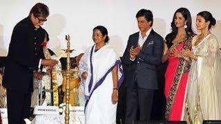 Amitabh Bachchan lights the inaugural lamp at the Kolkata Film festival