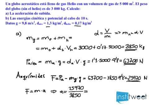 Problema resuelto cálculo velocidad de subida de un globo