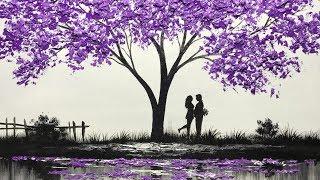 Challenge #8 | Acrylic Purple Tree Art, Palette Knife Nature Painting