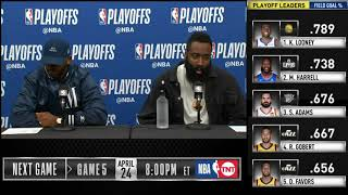 James Harden & Chris Paul postgame reaction | Jazz vs Rockets Game 4 | 2019 NBA Playoffs