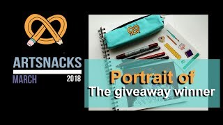 Artsnacks March 2018:   art supplies unboxing, review, challenge - portrait of the giveaway winner