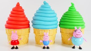 PEPPA PIG Best Learning Videos for COLORS - Peppa Play Doh Ice Cream Surprise Eggs