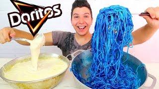 CHEESY ALFREDO COOL RANCH DORITOS FETTUCCINE • Mukbang & Recipe
