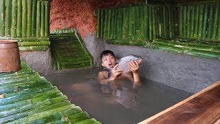 Build Fish Pond in Undergroud Bamboo House To Raise Fish On The Cliff