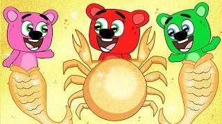Mega Gummy Bear Family Turns Into Crab While Swimming Funny Full Episodes Cartoon Animation