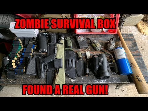 FOUND ZOMBIE APOCALYPSE SURVIVAL BOX WITH GUN INSIDE ABANDONED DOOMSDAY PREPPER SURVIVAL BOX