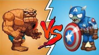Plants Vs Zombies Fan Made Legendario Capitan America Vs Super Raro Hombre de Piedra