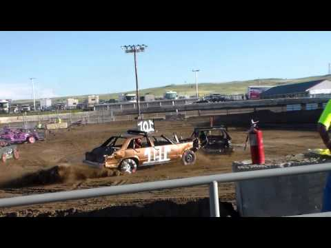 16 year old girl first time Demo Derby Driver Compact El Paso County Fair 2015 Calhan Colorado