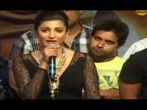 Shruti Hassan Speaks Cute Telugu | Race Gurram Success Meet | Allu Arjun | Brahmanandam