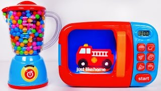 Fire Truck Microwave and Blender for Kids!! Toy Vehicles for Children