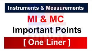 Moving Iron & Moving Coil [ One Liner ]  Instruments & Measurements