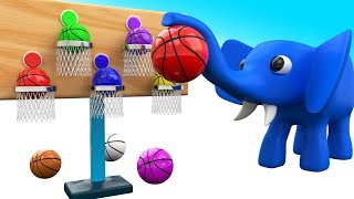 Colors for Children to Learning with Baby Elephant Cartoon Fun Play Basket Ball 3D Kids Educational