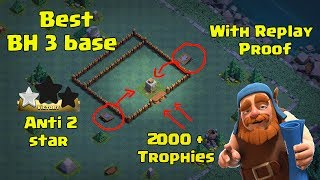 New Builder Hall 3 (BH3) 2 Cannon Base Anti 2 Star + 5 Replay Proof + 2000 trophies | Clash Of Clans
