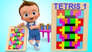 Learn Colors for Children with Baby Wooden Blocks Tetris Puzzle Shapes Toy Play Set Toddler Activity