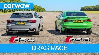 Audi RS4 vs RS3 - DRAG RACE, ROLLING RACE & BRAKE TEST