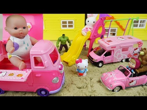 Baby Doli and Hello Kitty car toys baby doll sand play