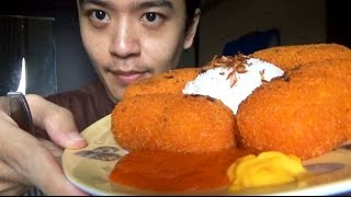 ASMR Eating Sound / Mukbang - Lets Eat Kanzler - Chicken Cordon Bleu + Nasi + Bawang Goreng