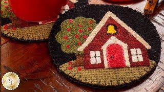 How to Make Schoolhouse Wooly Mug Rugs | A Shabby Fabrics Sewing Tutorial