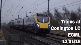 Trains at Conington Level Crossing, ECML | 13/01/18