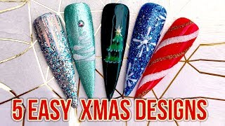 5 Easy Christmas Nail Art Designs - Perfect for Salon Style Accent Nails - Quick Festive Beauty Tips