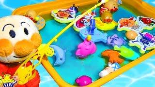 アンパンマン お風呂のおもちゃで魚釣りゲーム★!トーマスの入浴剤で水遊び♪ちいさなおもちゃがいっぱい!キッズアニメ 子供向け animation anpanman
