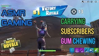 ASMR Gaming   Fortnite Carrying Subscribers Relaxing Gum Chewing 🎮Controller Sounds + Whispering😴💤