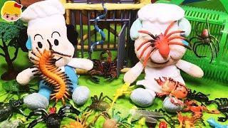 アンパンマン おもちゃ 昆虫採集 虫がパン工場と宅配ピザ屋さんとハンバーガーショップとコンビニに!牢屋に捕まえろ ☆ 虫カゴ カブトムシ クワガタ クモ ヘビ ゴキブリ ハエ アニメ トイ キッズ
