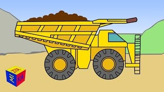 Transportation and construction trucks sounds for children kids toddlers. Educational cartoon