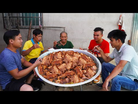 工地兒孫回家,阿婆買20斤豬肉燜扣肉,全家人一口一大塊 广西 玉林阿婆 美食