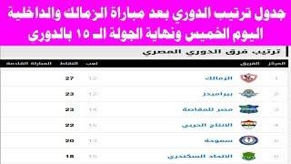 جدول ترتيب الدوري المصري بعد مباراة الزمالك والداخلية اليوم الخميس ونهاية الجولة 15 من الدوري